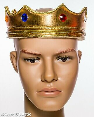 Inteligente Kings Crown Oro Lamé 'sopra Schiuma Morbida Flessibile Costume Corona W/gioielli