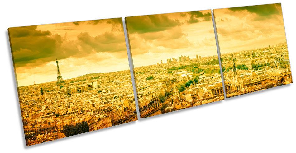 Sunset París Francia horizonte TREBLE LONA pared arte impresión caja del marco de la caja impresión f940f0