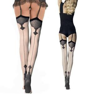Fiore-High-Quality-Back-Seam-Patterned-Baroque-Vintage-Stockings-40-Den-Denier