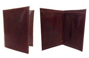 Men-039-s-slim-en-simili-cuir-marron-wallet-argent-carte-de-credit-titulaire-Double