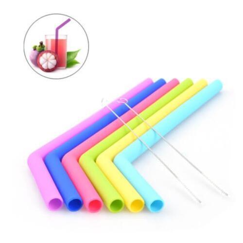 6Pcs Silicone Straight Drink Straws Reusable Food Grade Long Straws QK