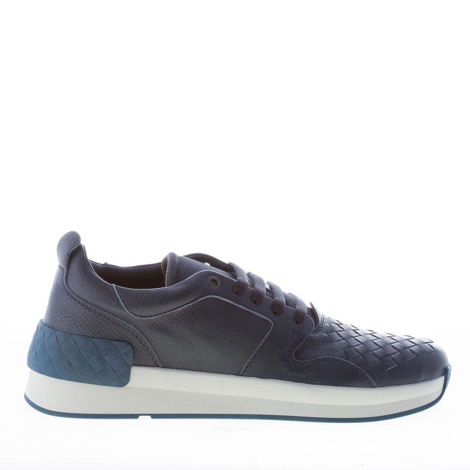 BOTTEGA VENETA men shoes dark blue leather BV Grand sneaker intrecciato 475154