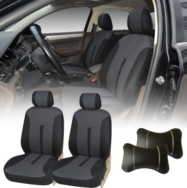 Enjoyable 5A161 Black 2 Fabric Front Car Seat Covers 2 Pu Head Pillow For Toyota Rav 4 Pabps2019 Chair Design Images Pabps2019Com