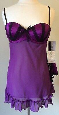 Baby Phat Babydoll Sheer Size Medium Purple With Thong