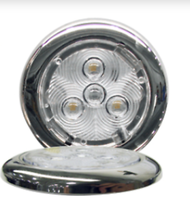Low Profile RV Marine 12v Stainless Steel 3 LED Incredibly Bright Area Light