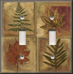 Metal Light Switch Plate Cover Fall Leaves Autumn Home Decor Brown