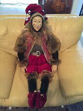 "Rare Vintage Mardi Gras Jester Display Life Size Doll 58"""