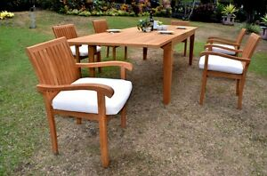 7 PC DINING TEAK SET GARDEN OUTDOOR PATIO FURNITURE NAPA STACKING 122 CARANAS