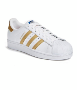 Details about Adidas Superstar White & Gold Stripes Tennis Shoes