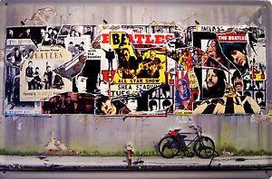 The-Beatles-Collage-Blechschild-Schild-3D-gepraegt-gewoelbt-Tin-Sign-20-x-30-cm