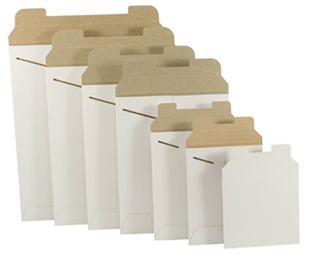 "500-6 x 8 White Stay Flat Rigid Photo Document Cardboard Mailer Envelope 6/""x8/"""