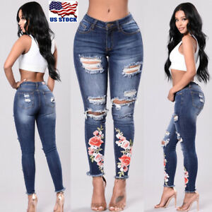 Women-High-Waist-Jeans-Ripped-Skinny-Slim-Stretch-Denim-Pants-Trousers-Embroider