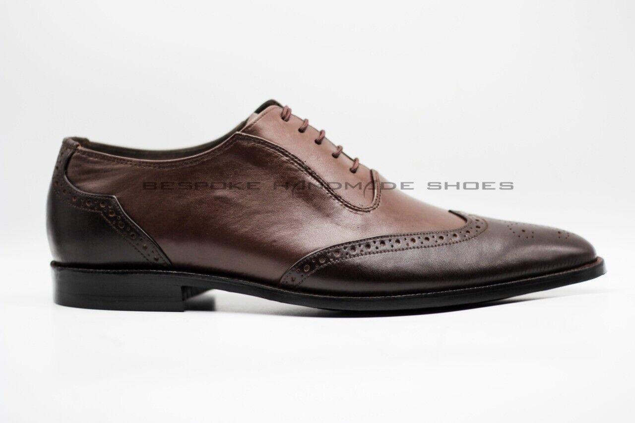 Hecho a mano para hombres Cuero Genuino De Dos Tonos Oxford Brogue punta del ala Zapatos Con Cordones