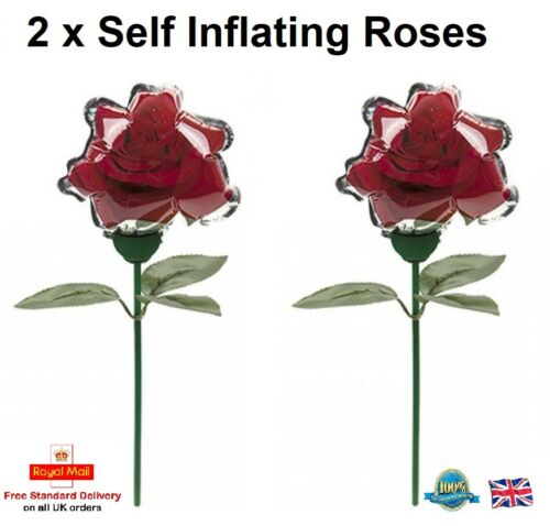 2 x SELF INFLATING ROSES Valentines Gift Girls Boys Toy Gift Inflatable Flower