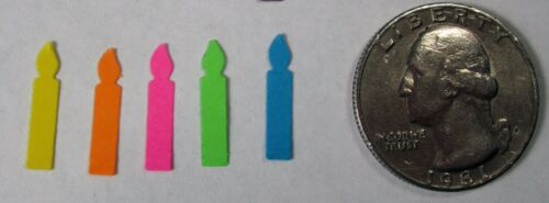 TINY BIRTHDAY CANDLE Set Lot 120 pieces 5 colors Punch Cutouts punch-outs 5//8/""