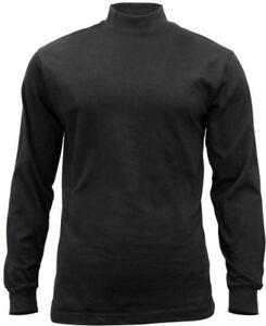 Black-Mock-Turtleneck-Sweater-High-Collar-Neck-Uniform-Top-Long-Sleeve-Warm