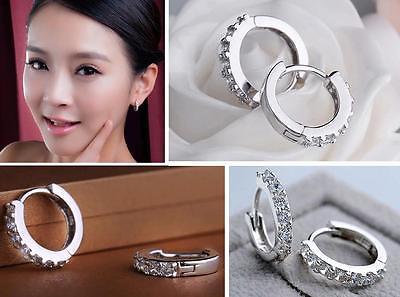 Hot Lady's White Gemstones Crystal Sterling Silver Hoop Earrings Jewelry EY