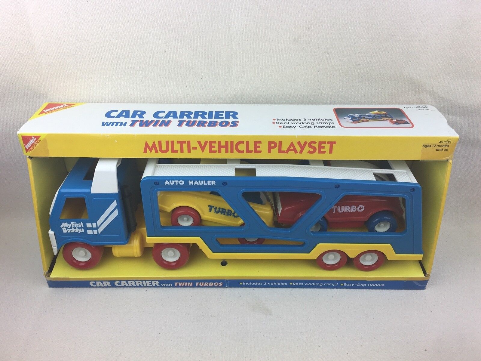 Vintage 1994 Buddy L Car Carrier w  Twin Turbos Playset My First Buddy BNIB