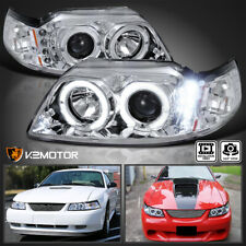 Fits 1999 2004 Ford Mustang Clear Led Halo Projector Headlights Lamps Leftright Fits Mustang