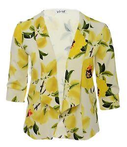 Ladies-16-26-Yellow-Floral-New-Blazer-Open-Jacket-Top-Bnwt-Womens-LICK