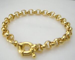 14ct-14K-Yellow-gold-belcher-bolt-ring-chain-solid-womens-mens-bracelet-18cm