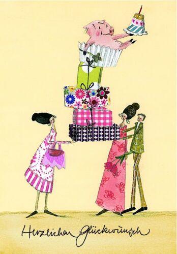 SILKE LEFFLER*Postkarte*Herzlichen Glückwunsch*Balanceakt*Geschenketurm*10 x15cm