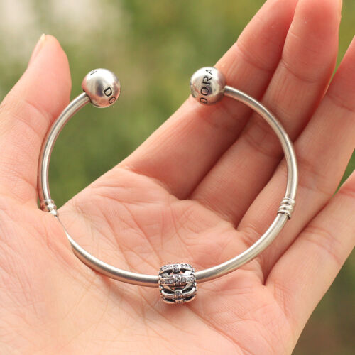 925 sterling silver Shimmering Sentiments Clear Cz bow charm bead fit bracelet
