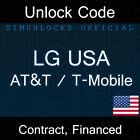 Unlock Code LG G3 G2 Optimus L90 L70 MS323 F6 AT&T T-Mobile USA