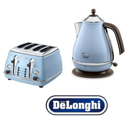 Delonghi Icona Kettle and Toaster Set  Blue Kettle /& 4 Slice De/'Longhi Toaster
