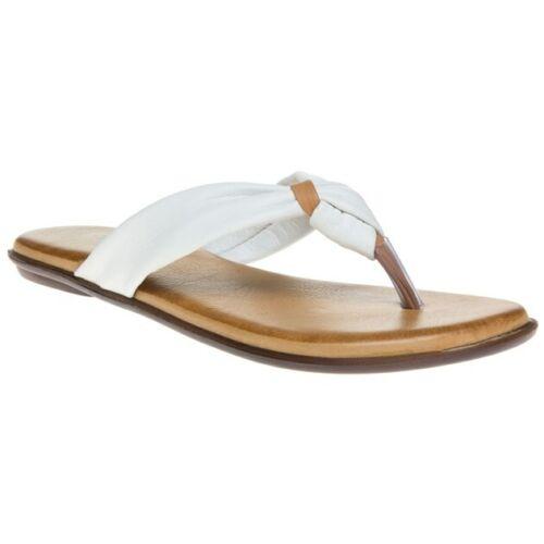 Nuevo Sandalias de cuero para mujer blanco exclusivo Courtney Flip Flop Resbalón En