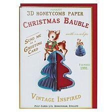 CHRISTMAS CARD TEAL CHRISTMAS TREE ORNAMENT BAUBLE Baby Reindeer Bambi Vintage