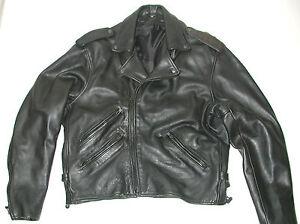 Men S Black Leather Motorcycle Biker Jacket Sz 46 Ebay
