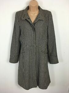 WOMENS-JANE-NORMAN-BLACK-CREAM-CHECK-STYLE-FITTED-BUTTON-UP-WINTER-COAT-UK-12