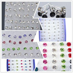 Set-48-PCS-Silber-Ohrstecker-Ohrring-Ohrschmuck-Ear-Stud-Earrings-Modeschmuck
