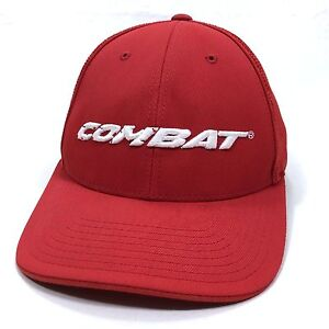 Image is loading COMBAT-Embroidered-Micromesh-Stretch-Fit-Baseball-Cap-Red- d8076c26f43