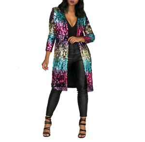 Womens-Sequin-Cardigan-Jacket-Long-Sleeve-Bling-Shiny-Coat-Stage-Show-Outwear
