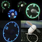 USB-LED-CLOCK-ADJUSTABLE-FLEXIBLE-GOOSENECK-COOL-FAN-LAPTOP MINI DESK hidtop CH
