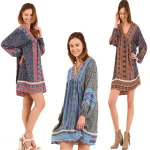 UMGEE Womens Pheasant Bohemian Chic Tassels Retro Boho Long Sleeve Dress S M L