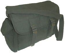 KHAKI MILITARY HAVERSACK army messenger shoulder bag tough cotton canvas satchel