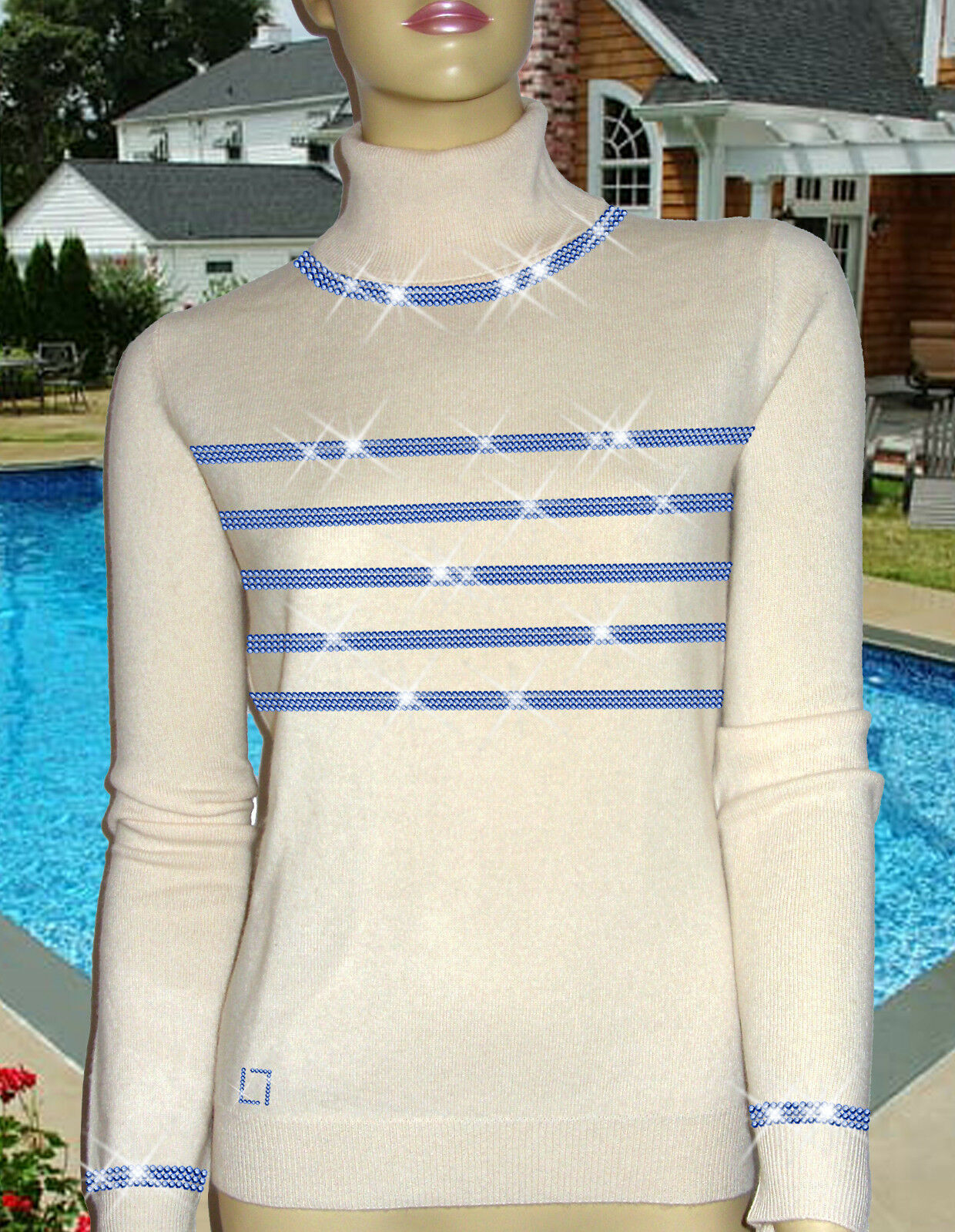 Luxe Oh Oh Luxe ` Dor 100% Cachemire Pull Hamptons Lifestyle Blanc Bleu Royal 50/52 XXL 4b4df5