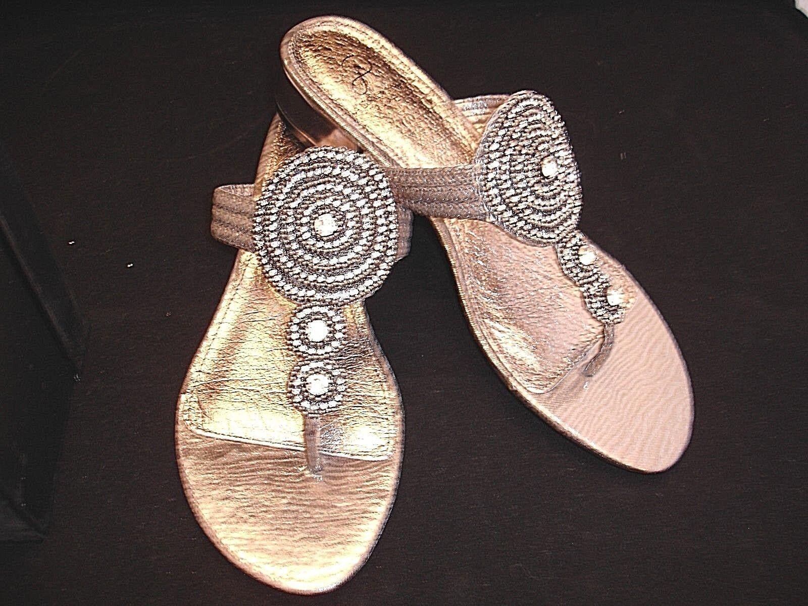 ADRIANNA PAPELL  DASHING  Gunmetal Thong Rhinestones Sandals Womens Sz 8.5 NIB