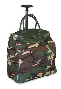 Details About Camo Rolling Wheeled Overnight Bag Trolley Carry On Womens Las Laptop