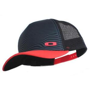 Oakley Crater Trucker Cap Black Red Mens Womens Adjustable Baseball ... b2e7d83a1fc