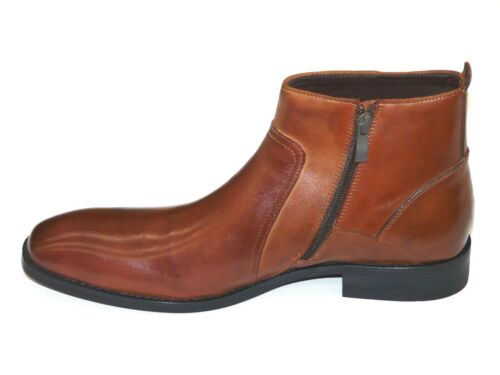 Kenneth Cole Men/'s Zipper Dressy Boot Leather Plain Toe Crisis Averted Tan Brown