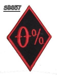 0% Rouge Sur Noir à Repasser Petit Patch Pour Motard Gilet Sb857 ProcéDéS De Teinture Minutieux