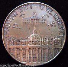 Vtg JFK Kennedy John XXIII Peace Bronze Medallion Paperweight ornate high relief