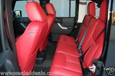 NEW 2013 2014 2015 2016 2017 JEEP WRANGLER RED KATZKIN LEATHER SEAT COVERS