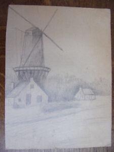 100% Vrai 2 Dessins Au Crayon. Moulin à Vent Circa 1940