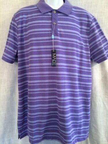 MADE Cam Newton Purple Striped Short Sleeve Polo Shirt Collar Mens Sz XL