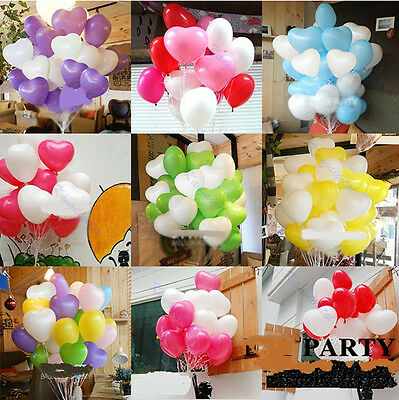 Wedding Birthday Party Decoration Mix Color Heart Shaped Latex Balloons 100pcs